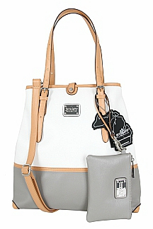 Grand Haven Tote w/ South Haven Wristlet - Ash Gray/White