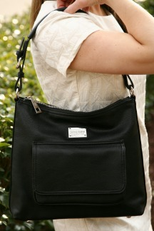 Lake Michigan Crossbody|Hobo - Pebble Black